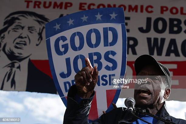 Actor Danny Glover speaks during a rally on jobs December 7 2016 at Freedom Plaza in Washington DC Our Revolution and Good Jobs Nation the organizer...