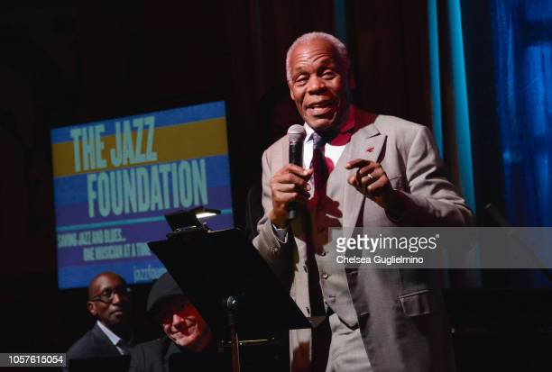 Actor Danny Glover speaks onstage as Quincy Jones hosts Jazz Foundation LA Fundraiser honoring Johnny Mathis at Herb Alpert's Vibrato Grill Jazz on...
