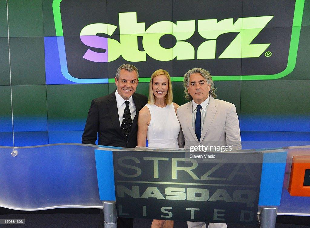Actor Danny Huston, actress Kelly Lynch and creator/writer Mitch Glazer visit NASDAQ MarketSite on June 12, 2013 in New York City.