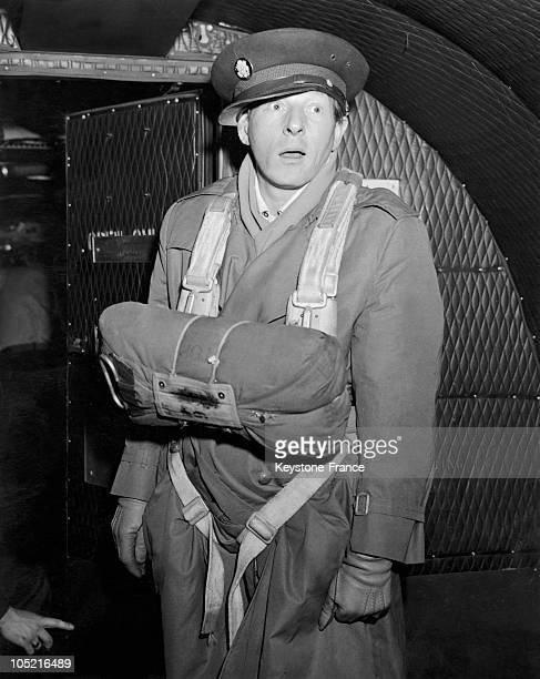 S Actor Danny Kaye Posing In A Military Plane With A Parachute During A Tour In Germany On March 17 1948