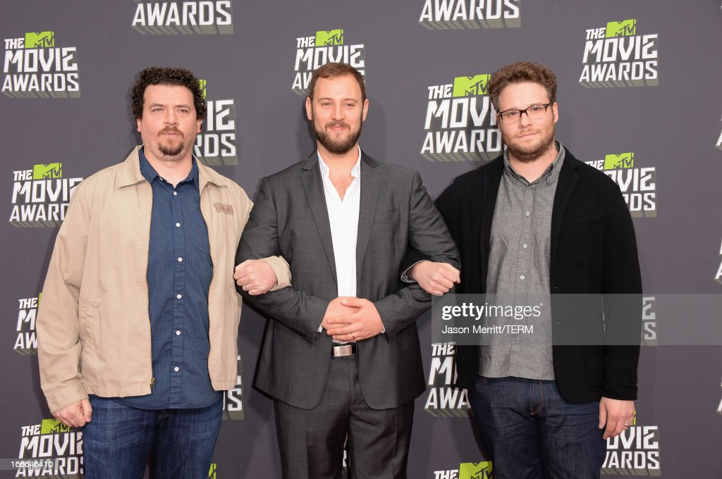 Actor Danny McBride, director Evan Goldberg and actor Seth Rogen arrive at the 2013 MTV Movie Awards at Sony Pictures Studios on April 14, 2013 in Culver City, California.