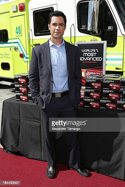 Actor Danny Pino makes an appearance at MiamiDade Poilice headquaters to present Duracell batteries to first responders on October 14 2013 in Miami...