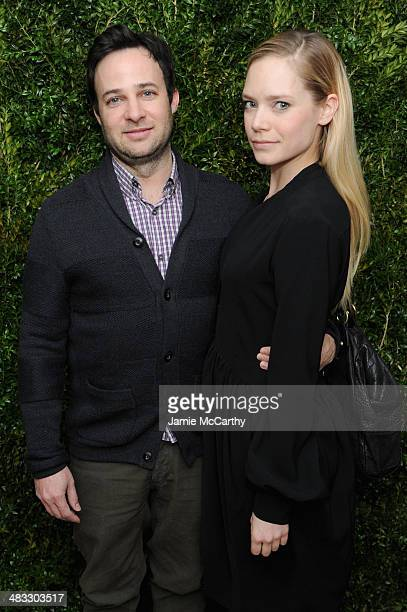Actor Danny Strong and Caitlin Mehner attend the Vogue The Cinema Society screening of 'Turks and Caicos' at the Crosby Street Hotel on April 7 2014...