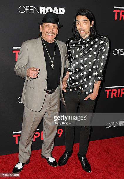 Actor Danny Trejo and son actor Gilbert Trejo attend the Premiere of Open Road's 'Triple 9' at Regal Cinemas LA Live on February 16 2016 in Los...