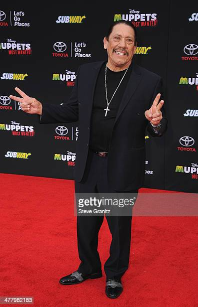 Actor Danny Trejo arrives for Disney's 'Muppets Most Wanted' Los Angeles Premiere at the El Capitan Theatre on March 11 2014 in Hollywood California