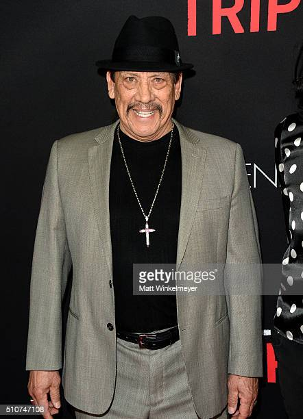 Actor Danny Trejo attends the premiere of Open Road's 'Triple 9' at Regal Cinemas LA Live on February 16 2016 in Los Angeles California