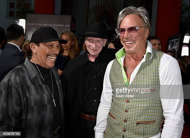 Actor Danny Trejo director/writer Frank Miller and actor Mickey Rourke attend the premiere of Dimension Films' 'Sin City A Dame To Kill For' at TCL...