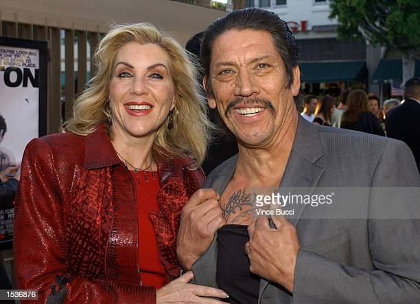 Actor Danny Trejo shows tattoo with name of his wife Debbie at the premiere of the film The Salton Sea April 23 2002 at the Egyptian Theatre in...