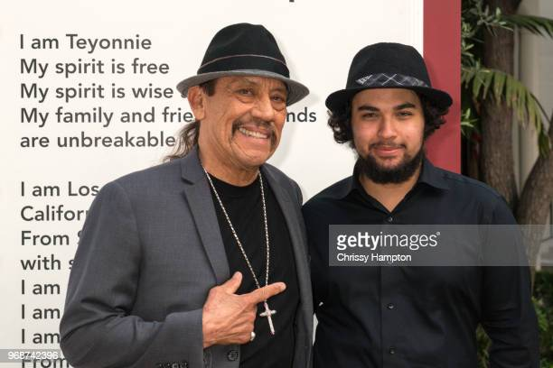 Actor Danny Trejo with a 826LA student just before the evening program of the 826LA Presents 'Tell Me A Story Untold Stories Of Los Angeles' event at...