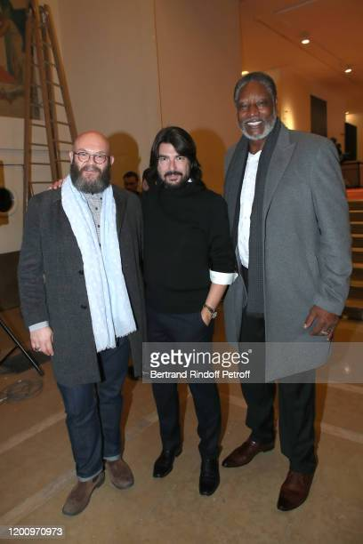 Actor Darko Peric, Styllist Stephane Rolland and Basket Ball player Audie Norris attend the Stephane Rolland Haute Couture Spring/Summer 2020 show as...