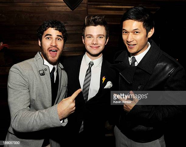 Actor Darren Criss actor/producer/writer Chris Colfer and actor Harry Shum Jr pose at the after party for a screening of Tribeca Film's 'Struck By...