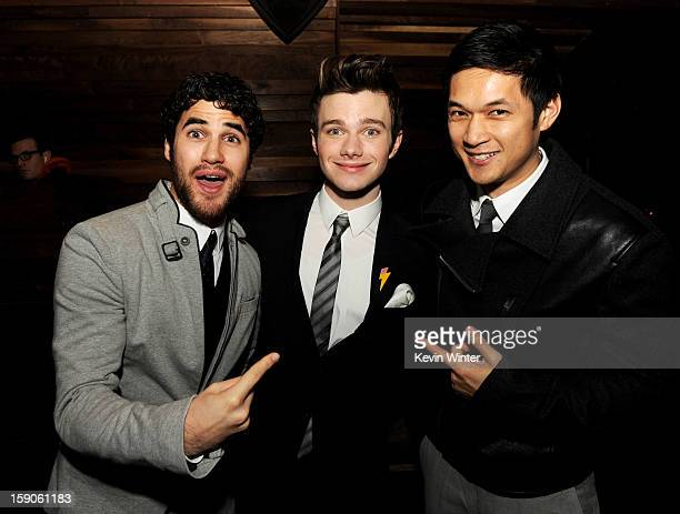 """Actor Darren Criss, actor/producer/writer Chris Colfer and actor Harry Shum, Jr. Pose at the after party for a screening of Tribeca Film's """"Struck By..."""