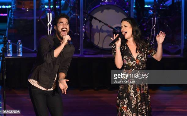 Actor Darren Criss and Actress Lea Michele perform at Ryman Auditorium on May 30 2018 in Nashville Tennessee