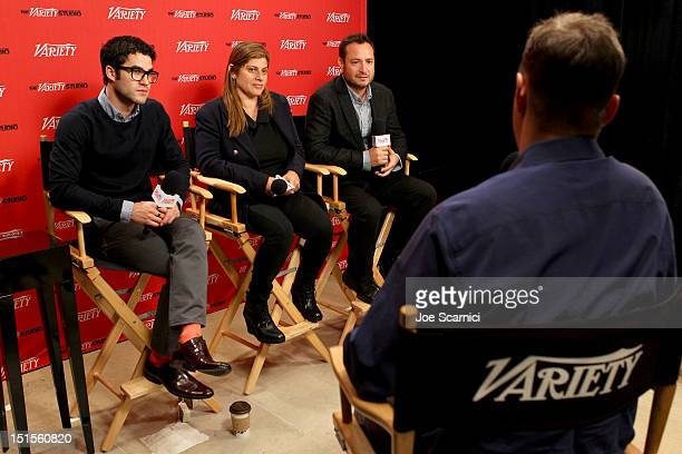 Actor Darren Criss and Co-Directors, Shari Springer Berman and Robert Pulcini at Variety Studio presented by Moroccanoil on Day 1 at Holt Renfrew,...