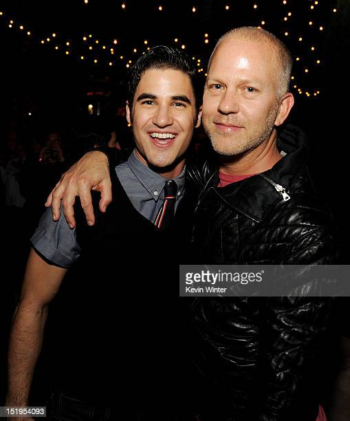 """Actor Darren Criss and executive producer/creator Ryan Murphy pose at the after party for the premiere of Fox Television's """"Glee"""" Season 4 at..."""