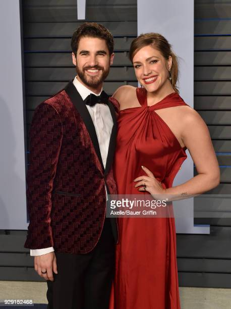Actor Darren Criss and Mia Swier attend the 2018 Vanity Fair Oscar Party hosted by Radhika Jones at Wallis Annenberg Center for the Performing Arts...