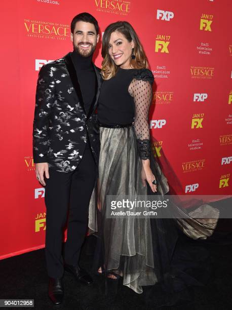 Actor Darren Criss and Mia Swier attend the Los Angeles Premiere of 'The Assassination of Gianni Versace American Crime Story' at ArcLight Hollywood...