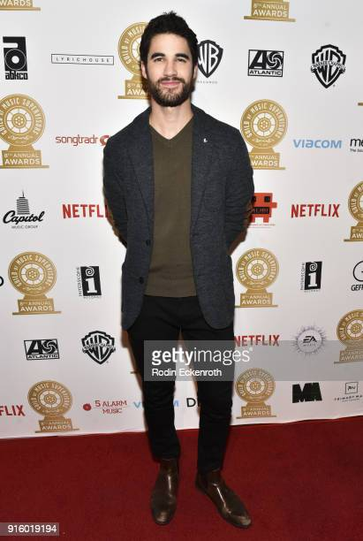 Actor Darren Criss arrives at the 8th Annual Guild of Music Supervisors Awards at The Theatre at Ace Hotel on February 8 2018 in Los Angeles...