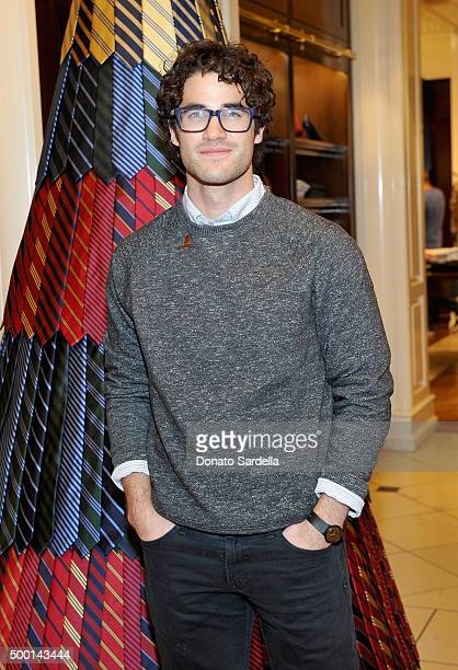 Actor Darren Criss attends the Brooks Brothers holiday party with St Jude Children's Research Hospital at Brooks Brothers on Rodeo Drive on December...
