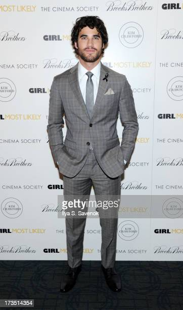 "Actor Darren Criss attends The Cinema Society & Brooks Brothers Host A Screening Of Lionsgate And Roadside Attractions' ""Girl Most Likely""s at..."
