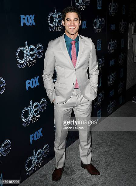 Actor Darren Criss attends the 'Glee' 100th episode celebration at Chateau Marmont on March 18 2014 in Los Angeles California