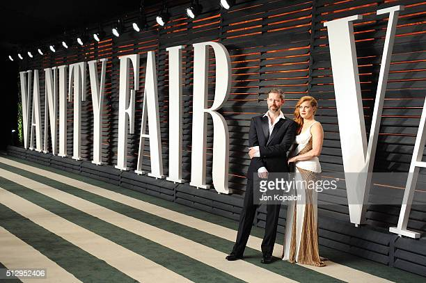Actor Darren Le Gallo and actress Amy Adams attend the 2016 Vanity Fair Oscar Party hosted By Graydon Carter at Wallis Annenberg Center for the...