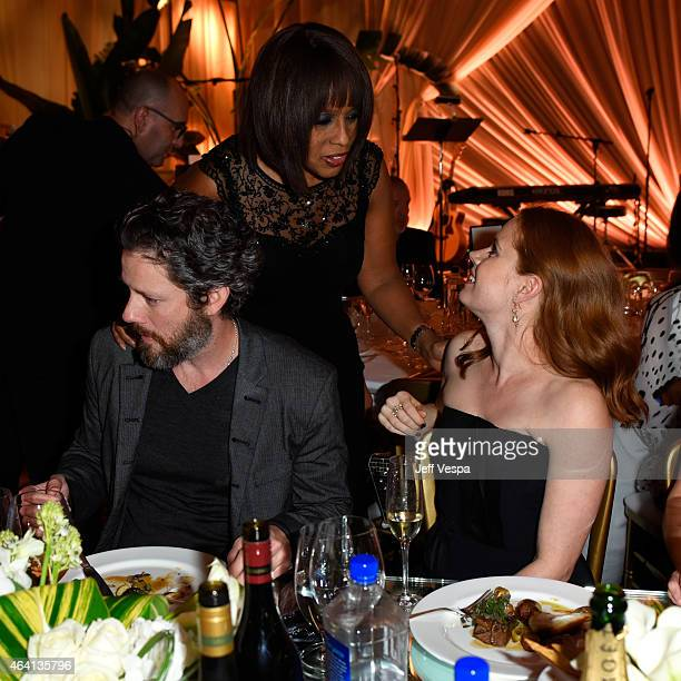 Actor Darren Le Gallo TV personality Gayle King and actress Amy Adams attend The Weinstein Company's Academy Awards Nominees Dinner in partnership...