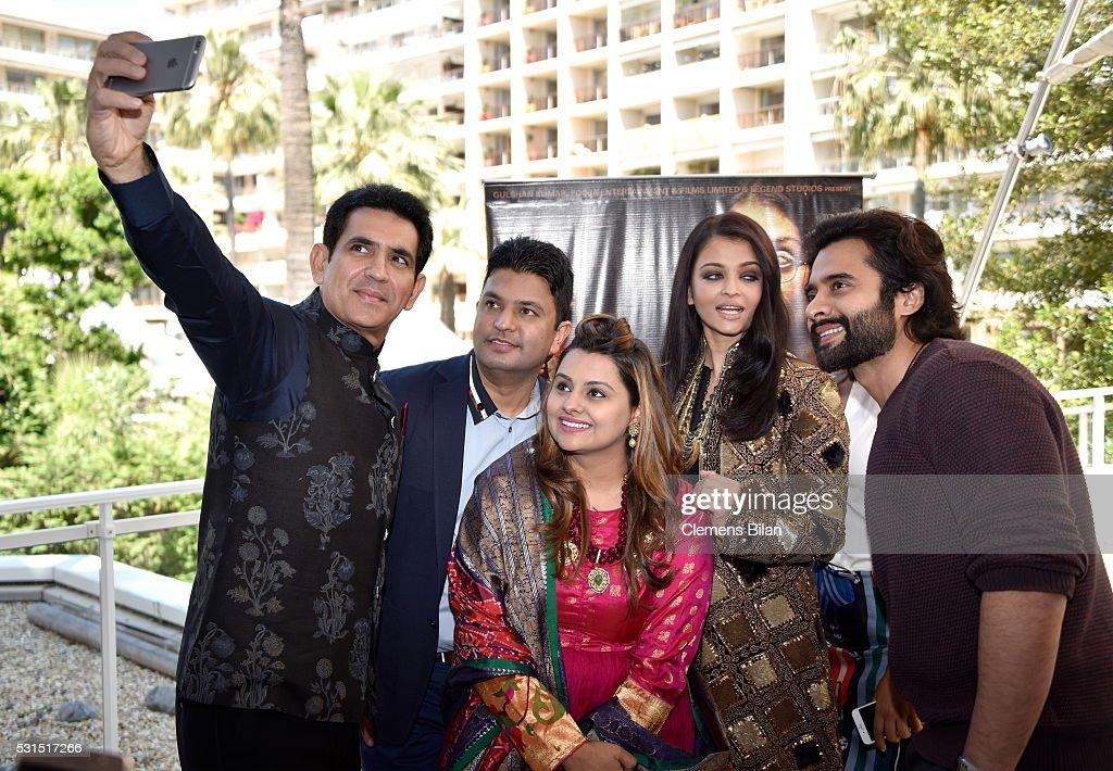 Actor Darshan Kumaar TSeries head Bhushan Kumar producer Deepshika Deshmukh Aishwarya Rai and producer Jackky Bhagnani attend 'Sarbjit' Photoc