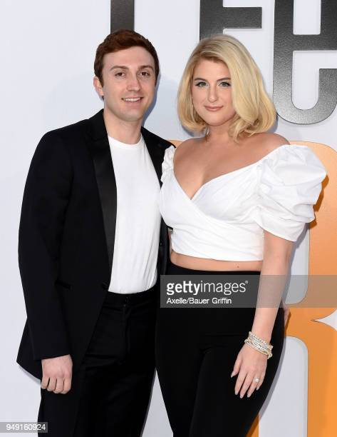 Actor Daryl Sabara and singer Meghan Trainor arrive at the premiere of STX Films' 'I Feel Pretty' at Westwood Village Theatre on April 17 2018 in...