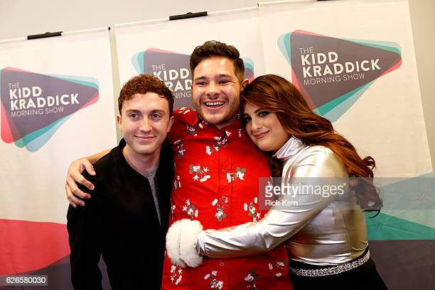 Actor Daryl Sabara, radio personality Part-Time Justin, and recording artist Meghan Trainor attend 106.1 KISS FM's Jingle Ball 2016 presented by...