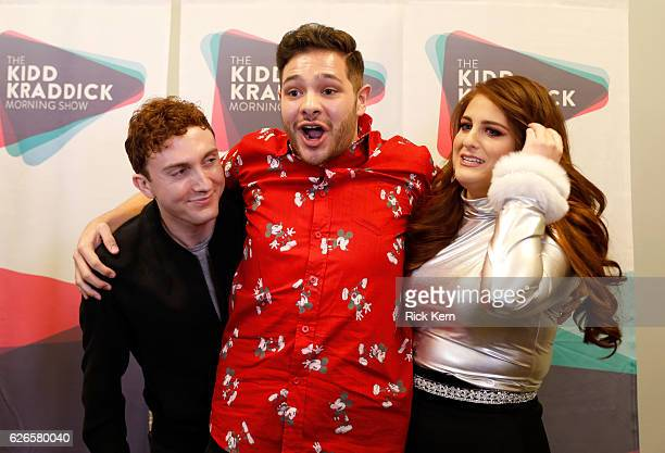 Actor Daryl Sabara radio personality PartTime Justin and recording artist Meghan Trainor attend 1061 KISS FM's Jingle Ball 2016 presented by Capital...