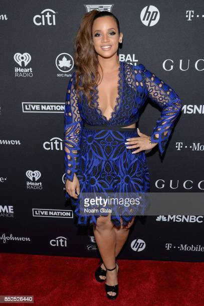 Actor Dascha Polanco poses in the VIP Lounge during the 2017 Global Citizen Festival in Central Park on September 23 2017 in New York City