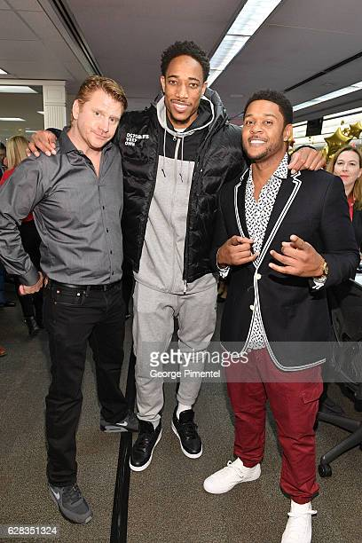 Actor Dash Mihok Toronto Raptor DeMar DeRozan and Actor Pooch Hall attend the 32nd Anniversary of CIBC Miracle Day to help raise millions for kids in...