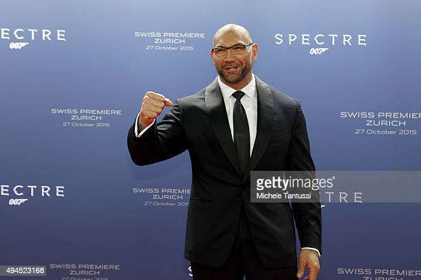 Actor Dave Bautista arrives on the red carpet during the swiss premiere of 007 James Bond Film 'Spectre' October 27 2015 at the Hallenstadion in...