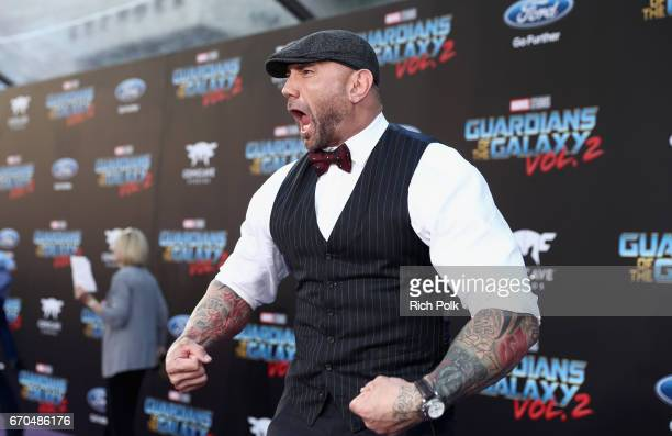 """Actor Dave Bautista at The World Premiere of Marvel Studios' """"Guardians of the Galaxy Vol 2"""" at Dolby Theatre in Hollywood CA April 19th 2017"""