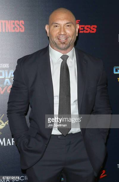Actor Dave Bautista attend the screening of Marvel Studios' 'Guardians Of The Galaxy Vol 2' hosted by The Cinema Society at the Whitby Hotel on May 3...
