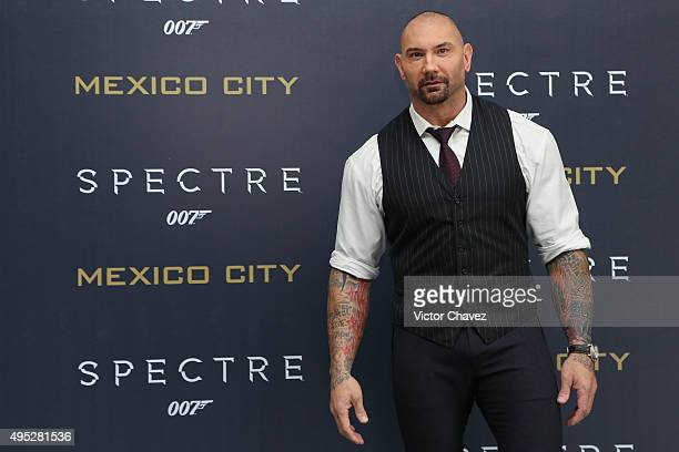 Actor Dave Bautista attends a photo call to promote the new film 'Spectre' on November 1 2015 in Mexico City Mexico