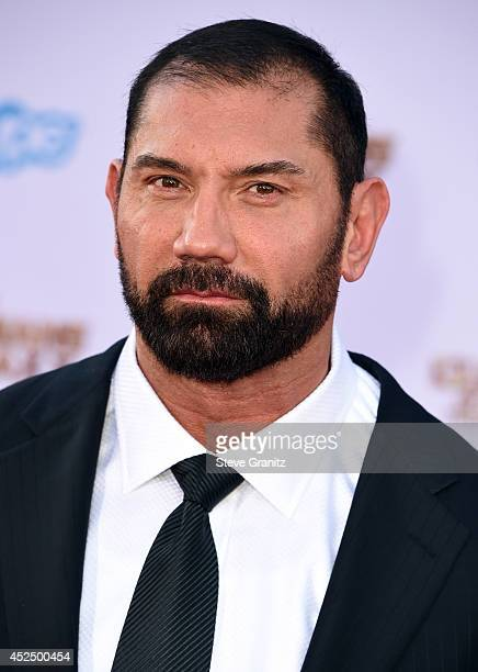 Actor Dave Bautista attends Marvel's 'Guardians Of The Galaxy' Los Angeles Premiere at the Dolby Theatre on July 21 2014 in Hollywood California