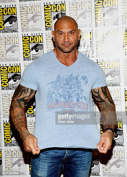 Actor Dave Bautista attends Marvel's 'Guardians of The Galaxy' press line during ComicCon International 2013 at the Hilton San Diego Bayfront Hotel...