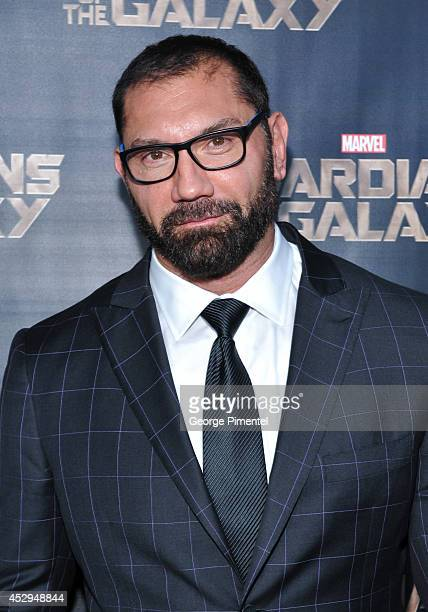 Actor Dave Bautista attends Marvel's Guardians Of The Galaxy Toronto advanced special screening at Scotiabank Theatre on July 30 2014 in Toronto...