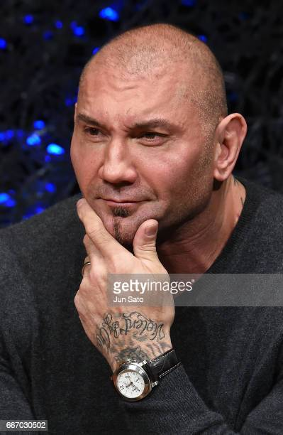 Actor Dave Bautista attends the 'Guardians of the Galaxy Vol2' press conference at the RitzCarlton on April 11 2017 in Tokyo Japan