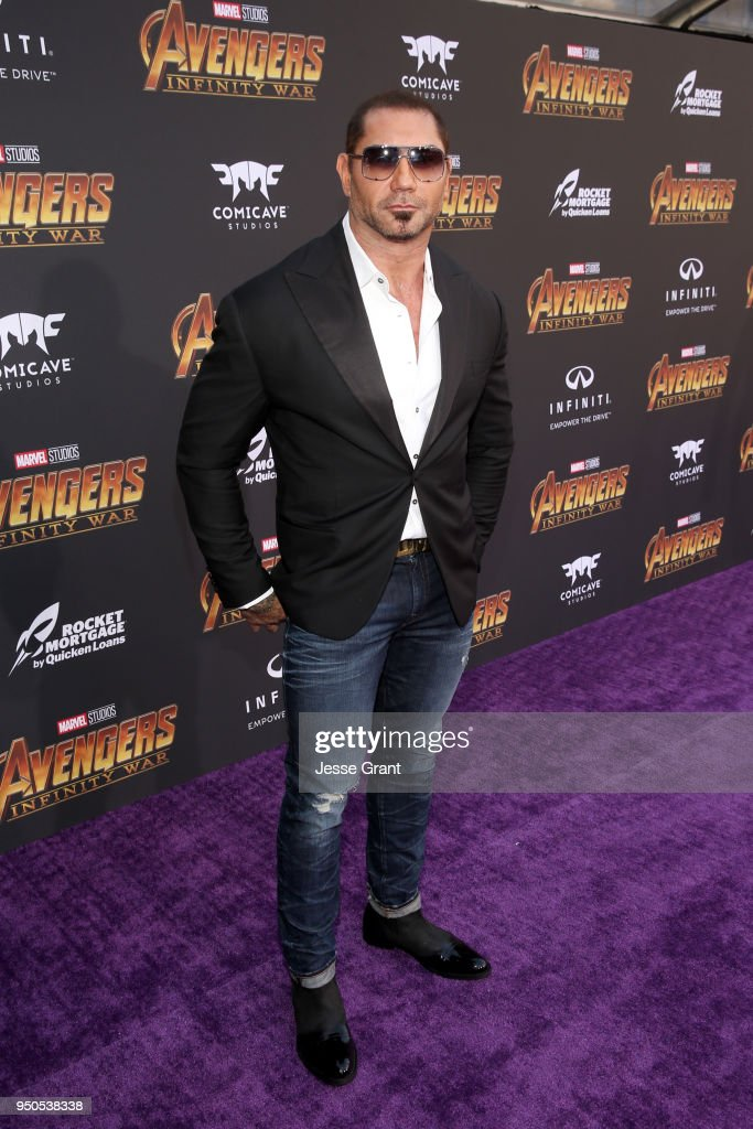 Actor Dave Bautista attends the Los Angeles Global Premiere for Marvel Studios' Avengers: Infinity War on April 23, 2018 in Hollywood, California.