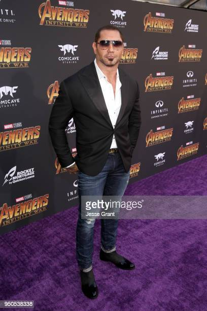 Actor Dave Bautista attends the Los Angeles Global Premiere for Marvel Studios' Avengers Infinity War on April 23 2018 in Hollywood California