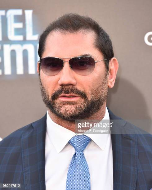 Actor Dave Bautista attends the premiere of Global Road Entertainment's Hotel Artemis at Regency Village Theatre on May 19 2018 in Westwood California