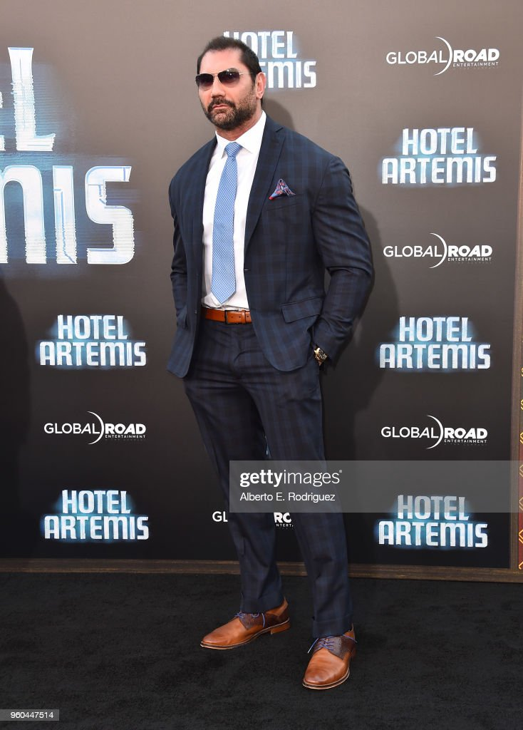 Actor Dave Bautista attends the premiere of Global Road Entertainment's 'Hotel Artemis' at Regency Village Theatre on May 19, 2018 in Westwood, California.