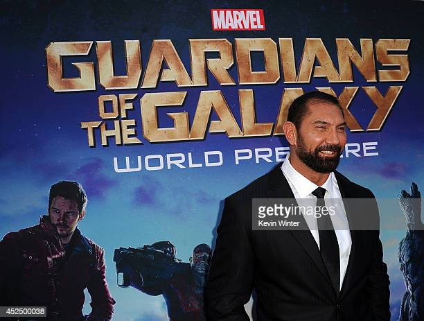 Actor Dave Bautista attends the premiere of Marvel's Guardians Of The Galaxy at the Dolby Theatre on July 21 2014 in Hollywood California