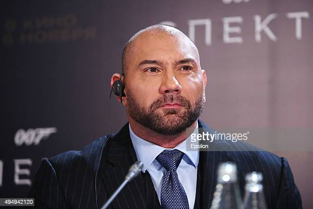 Actor Dave Bautista attends the 'Spectre 007' Moscow press conference at Residence of HM Ambassador Of Great Britain on October 30 2015 in Moscow...