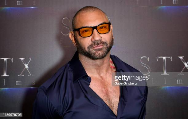 Actor Dave Bautista attends The State of the Industry Past Present and Future STXfilms presentation at The Colosseum at Caesars Palace during...