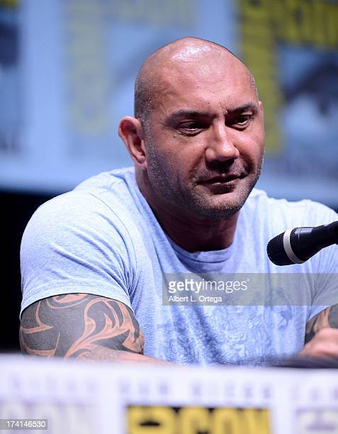 Actor Dave Bautista speaks onstage at Marvel Studios 'Guardians of the Galaxy' during ComicCon International 2013 at San Diego Convention Center on...