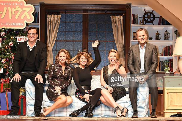 Actor Dave CoulierJodie Sweetin Candace Cameron Bure Andrea Barber and Bob Saget attend the premiere for 'Fuller House Season 2' at Roppongi Hills on...